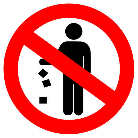 dumping: no littering red sign Illustration