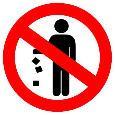 botar basura: No tirar basura rojo signo