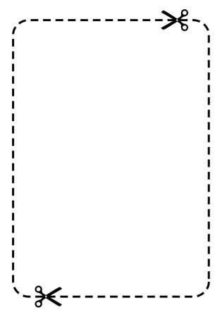 tijeras cortando: Rect�ngulo de cup�n Vectores