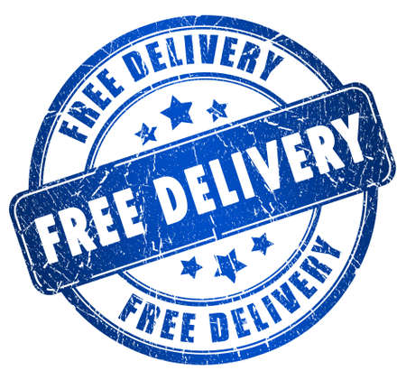 delivered: Free delivery stamp Stock Photo