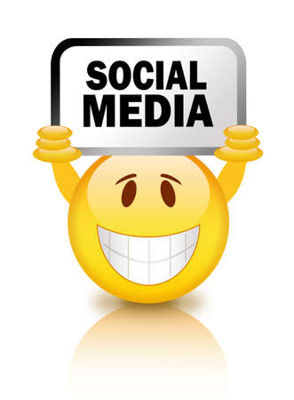 Smiley with social media sign Stock Photo - 14157973