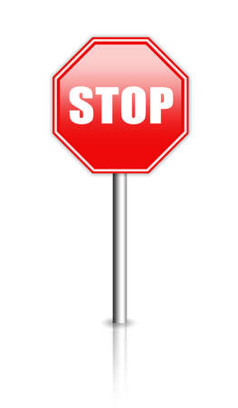 admitted: Glossy stop sign illustration Stock Photo