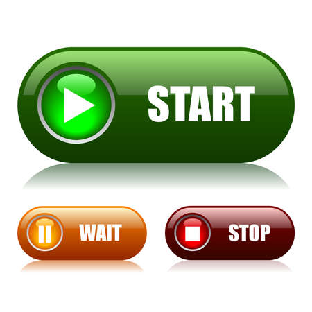 play button: Start and stop vector buttons Illustration