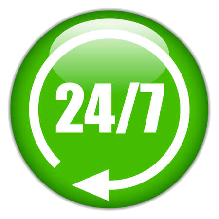 twenty four hours: 24 hour green button illustration