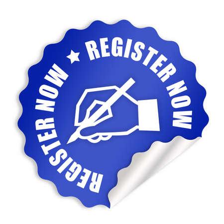 Register now label photo