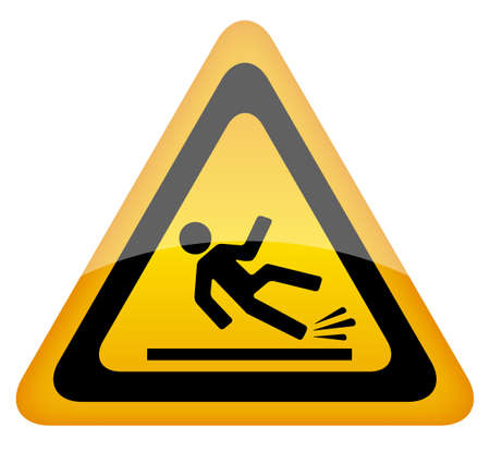 slick: Wet floor warning sign illustration