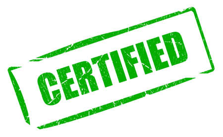accredited: Certified green stamp