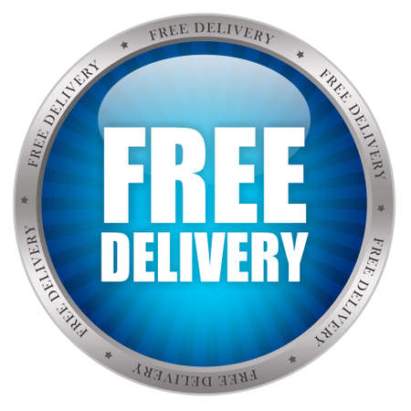 delivered: Free delivery glossy icon Stock Photo