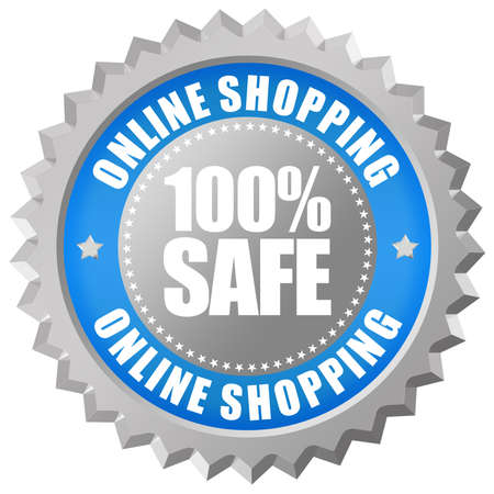 Safe online shopping emblem photo