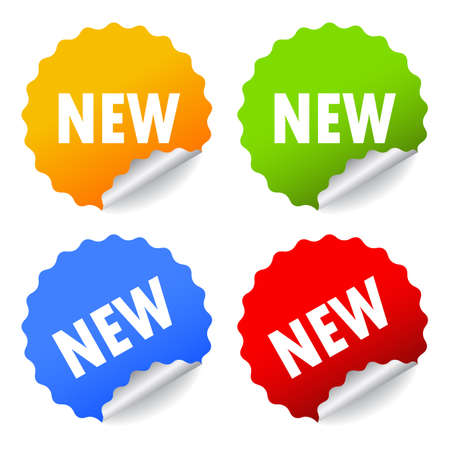 Pegatinas nuevo conjunto, ilustración vectorial Ilustración de vector