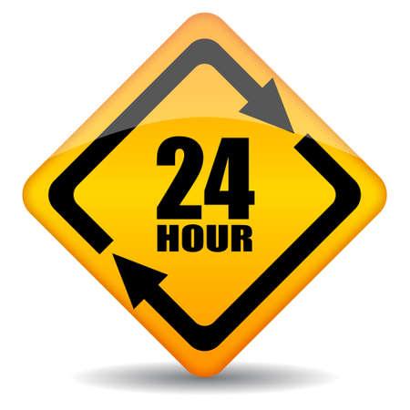 horas: Vector 24 horas de apoyo a los clientes signo