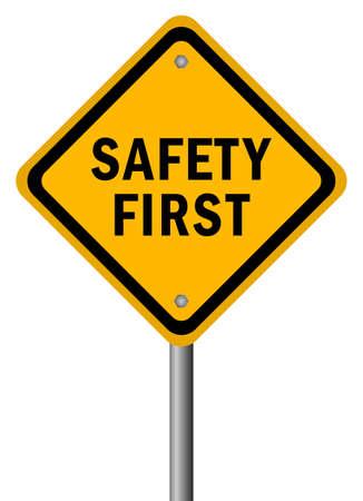 uithangbord: Vector veiligheid op de eerste verkeersbord Stock Illustratie