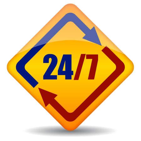 twenty four seven open sign Vector