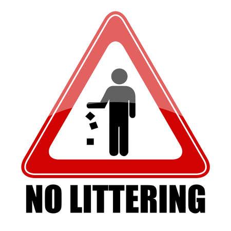 littering: No littering triangle sign,  illustration Illustration