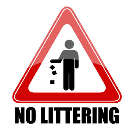 No littering triangle sign,  illustration Illustration