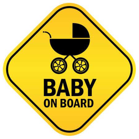 Bebé a bordo signo vector Ilustración de vector
