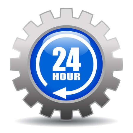 24 hour service gear icon, vector illustration