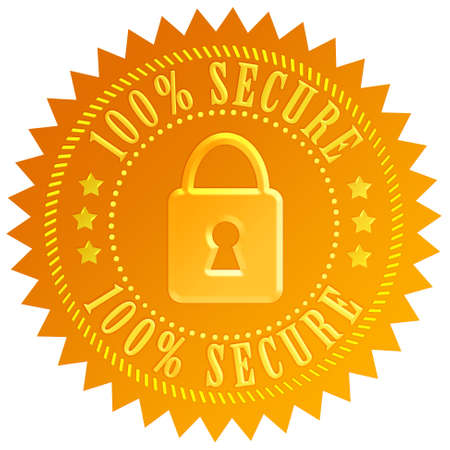 online logo: Secure lock emblem Stock Photo