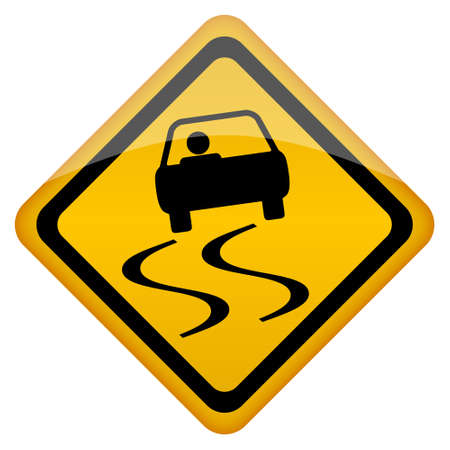 road sign: Vector slippery road sign