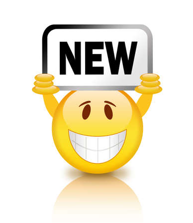 Smiley with new placard Stock Photo - 14837353