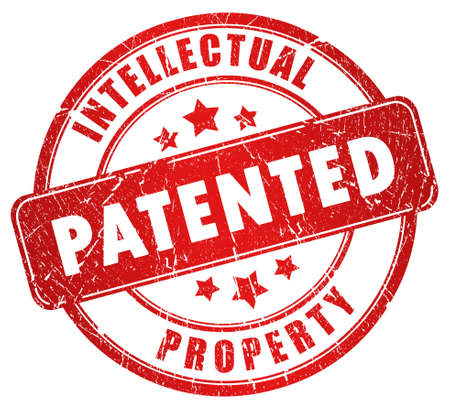 intellectual property: Patented stamp illustration over white