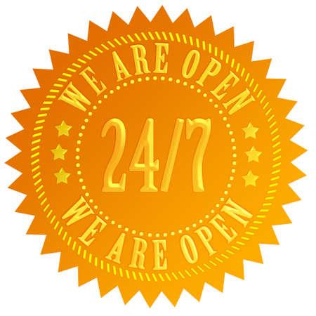 ordinateur logo: Nous sommes ouverts 24 heures signe Banque d'images