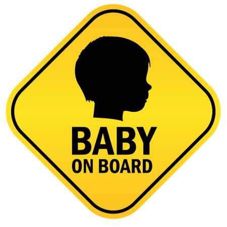 baby on board: Baby on board emblem Illustration