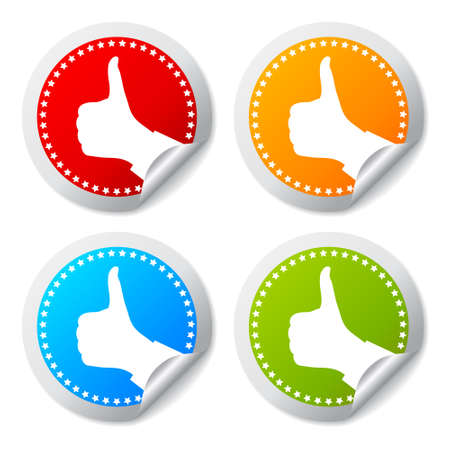 Thumb up stickers set Vector