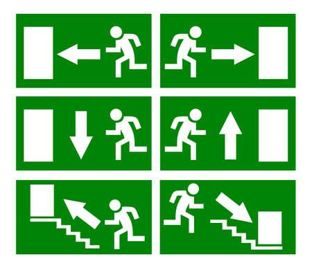 evacuatie: nooduitgangsborden ingesteld Stock Illustratie