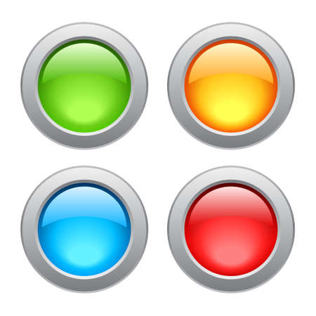 Metal glossy buttons, illustration Vector