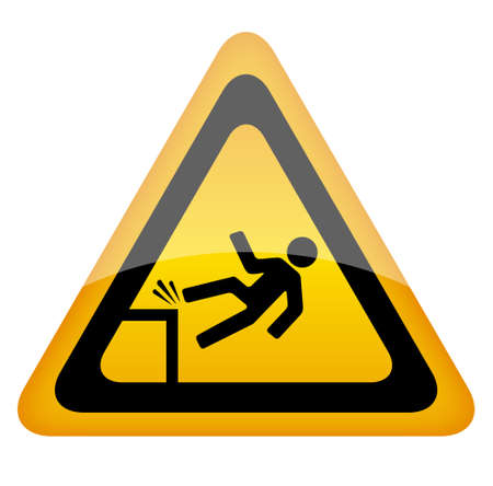 beware: Fall danger warning sign, vector illustration