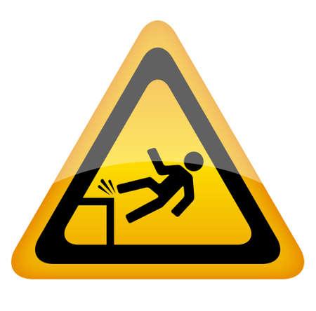 prevencion de accidentes: Fall peligro se�al de advertencia, ilustraci�n vectorial Vectores