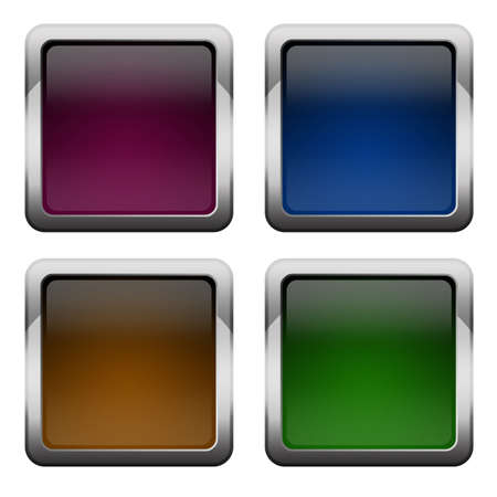 Blank glossy square buttons set photo