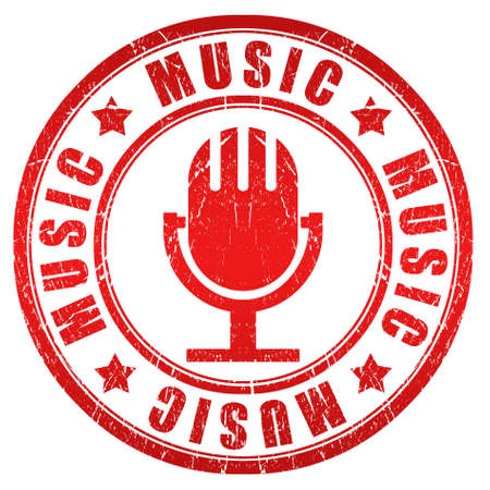 Music red stamp Stock Photo - 15503344