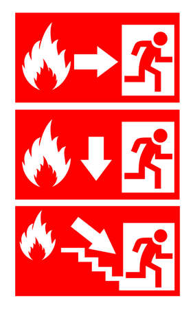 emergency exit sign icon: Fire danger signs set