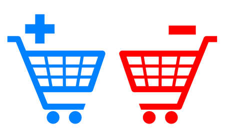 Add and remove shopping carts illustration Vector