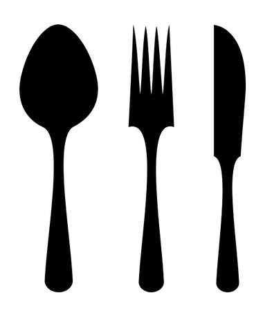 Spoon fork knife silhouettes Vector