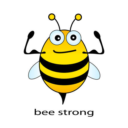 strenght: Bee strong, funny illustration