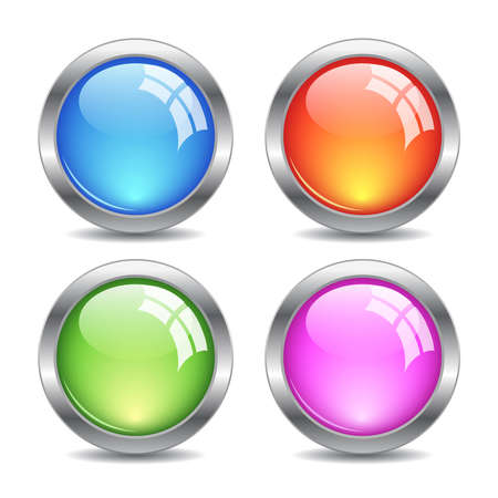 Glossy web buttons set, vector illustration Vector