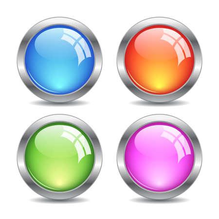 buttons: Lucido web pulsanti insieme, illustrazione vettoriale