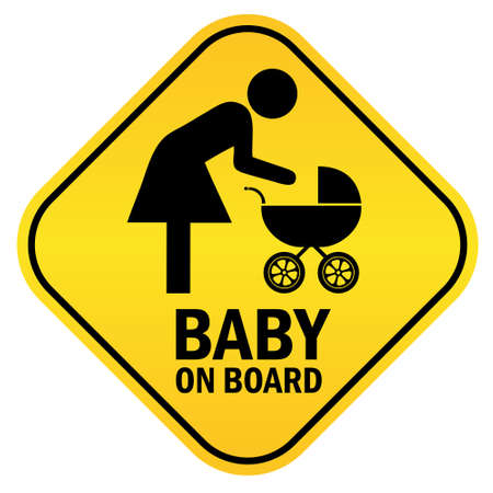 forewarning: Baby on board yellow diamond sign, vector illustration