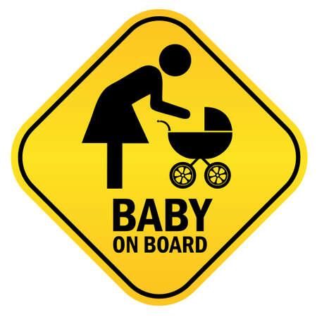 baby on board: Baby on board yellow diamond sign, vector illustration