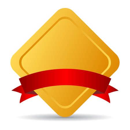 Golden emblem with ribbon, vector illustration