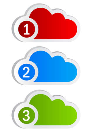 numbered: Numbered cloud shapes Stock Photo