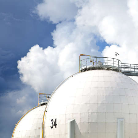 Oil refinery tanks photo photo