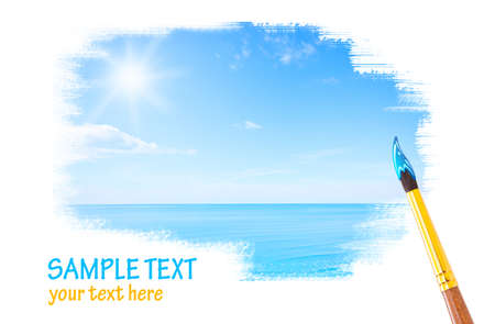 Blue sky and ocean drawing with copyspace Stock Photo - 15483689
