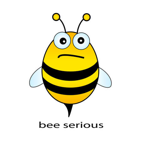 pics: Bee serious, funny vector drawing