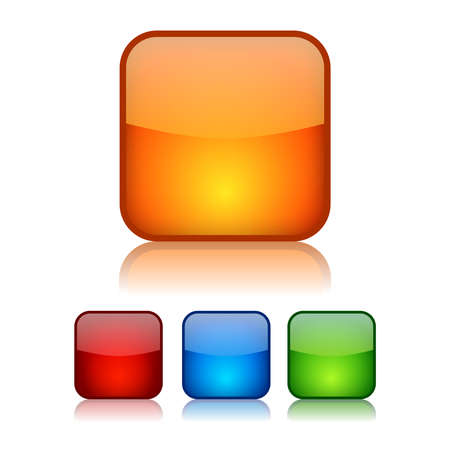 Vector square glassy buttons Stock Vector - 15544264