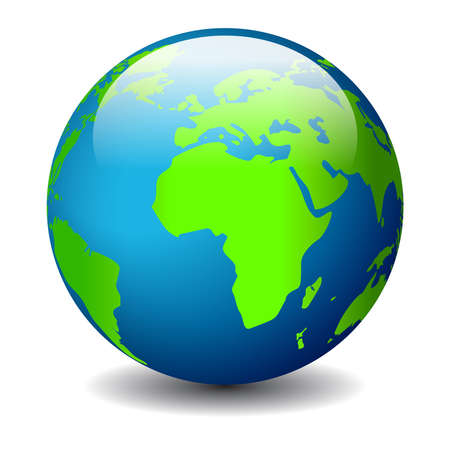 blue earth: Globe icon, vector illustration Illustration