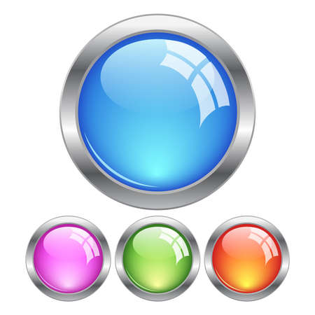 Glassy buttons, vector illustration Vector